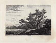 A 1800s RUISDAEL ETCHING THE CORNFIELD FRAMED.