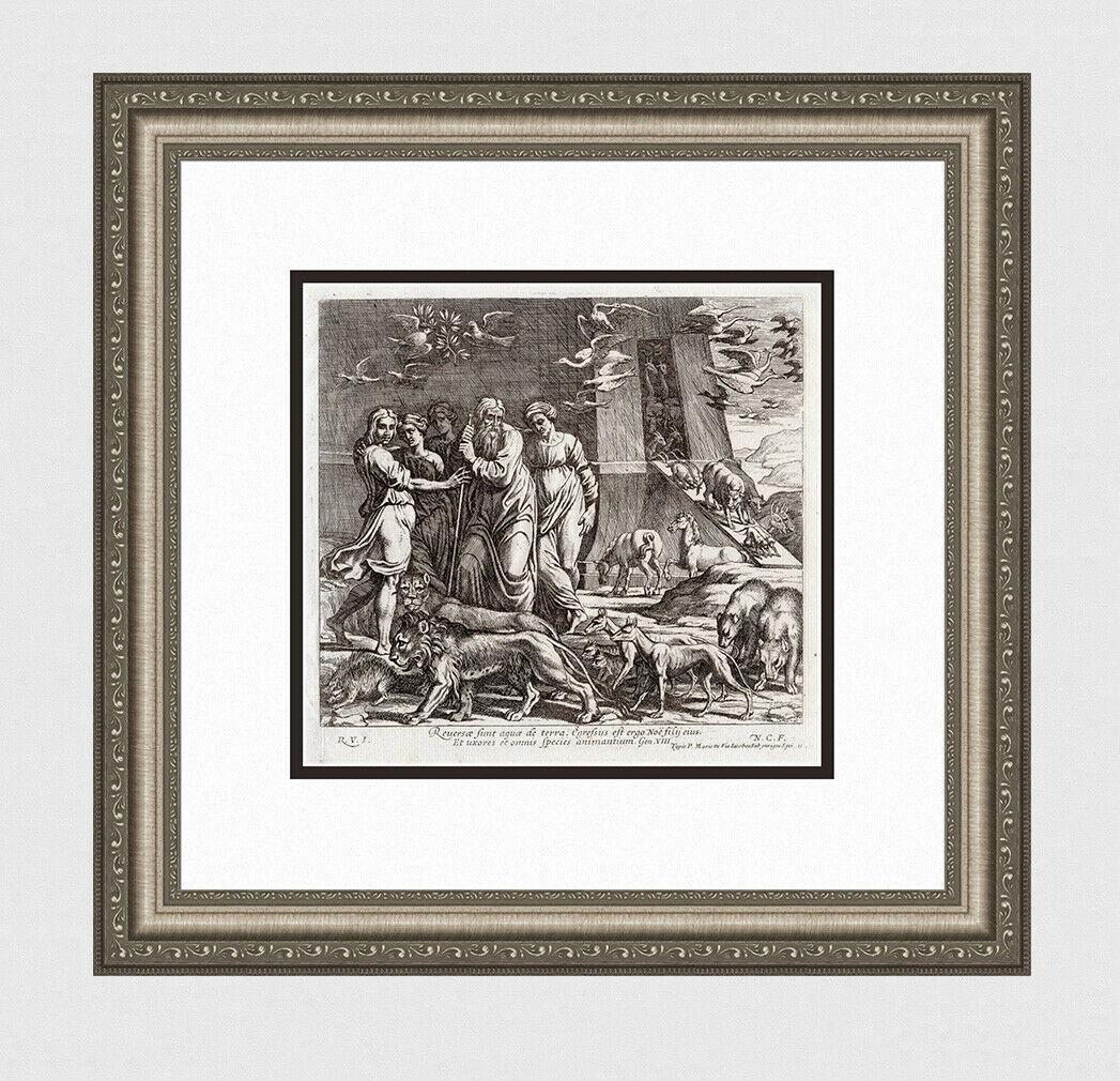 A 1649 RAPHAEL ENGRAVING VATICAN NOAH & ANIMALS EXIT