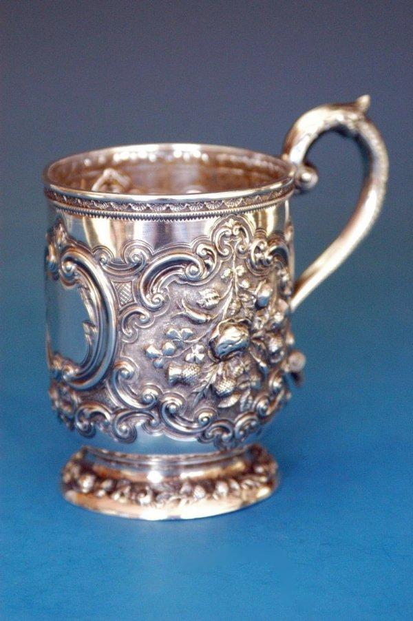 512: D.C. Rait & Son sterling repousse mug