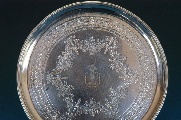 519: English Georgian sterling silver salver.