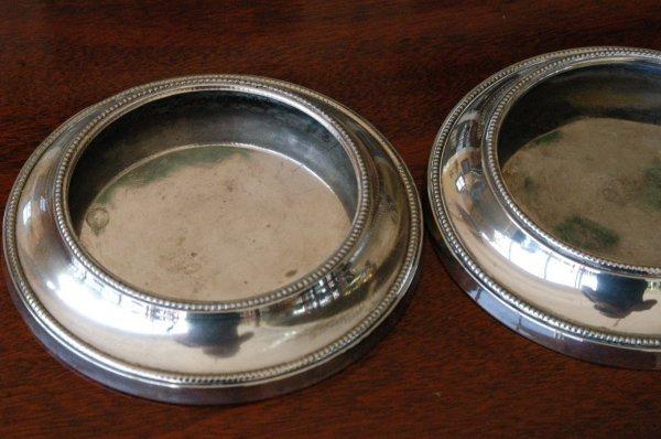 520: Silverplate wine coasters (pair).