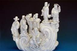 530: Blanc de Chine Chinese figural group.