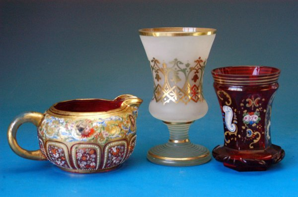 708: French & Bohemian Gilt and enameled glass pieces