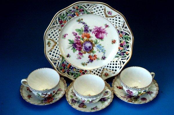 710: Dresden dessert plate and 3 teacups & saucers