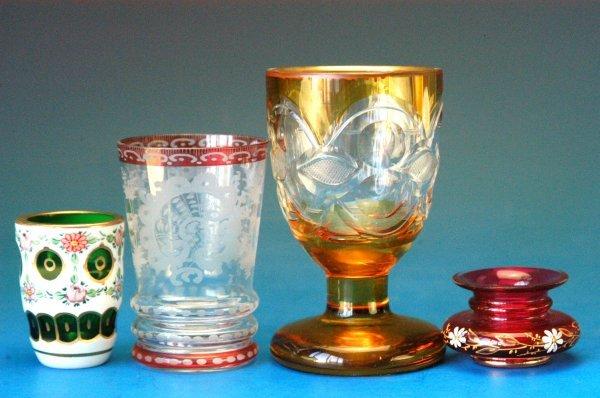 724: Bohemian vintage glassware (4)
