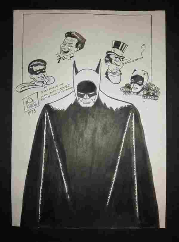 Bob Kane Batman Artist Signed Drawing of Batman
