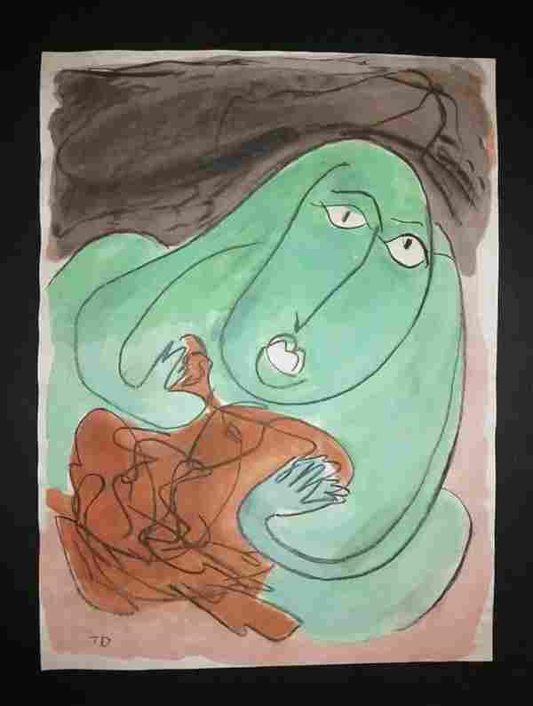 Thorton Dial Original Watercolor Mixed Media