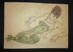 Egon Schiele Austrian Women Mixed Media (1890-1918)