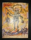 Jean Michel Basquiat (Oil on cardboard)