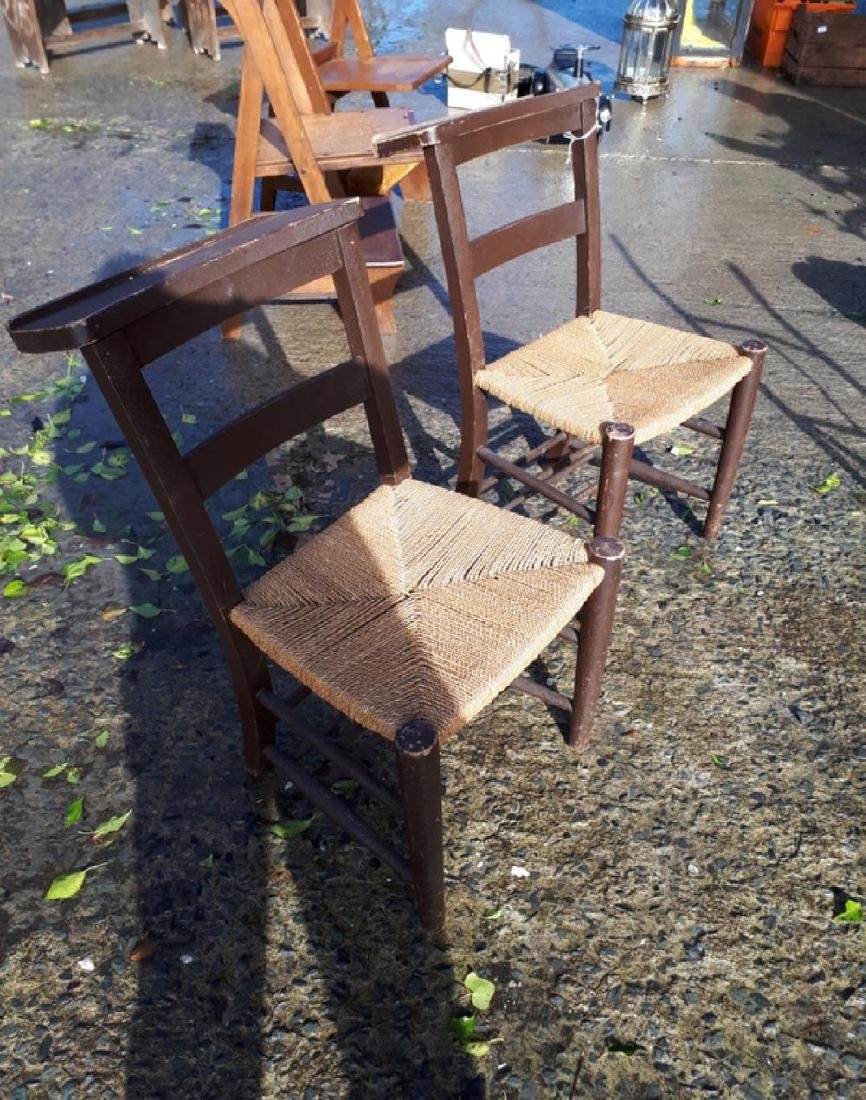Set of four early 20th C. painted pine chapel chairs