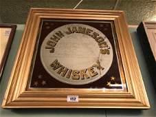John Jameson Irish Whiskey framed advertising mirror