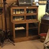 Edwardian inlaid mahogany sectional bookcase