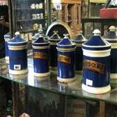 Set of four late 19th C blue and white ceramic lidded