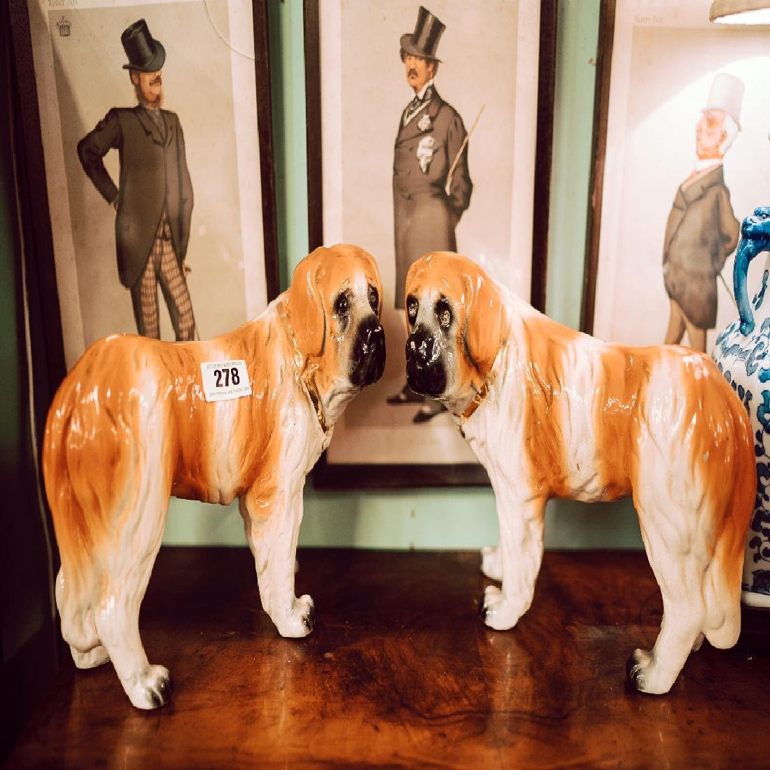 Pair of early 20th C. Staffordshire dogs.