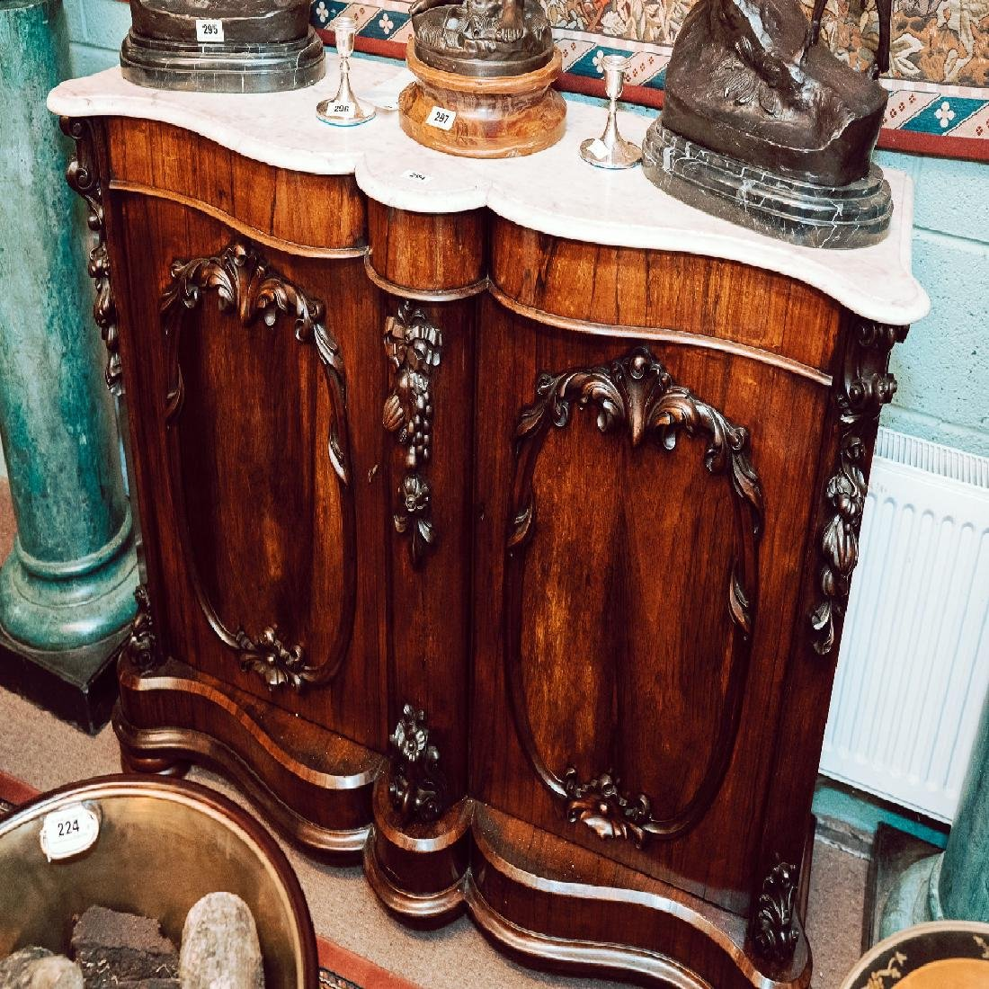 Victorian carved rosewood side cabinet the marble tops
