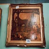 19th C. gilt framed oil on board stable scene.