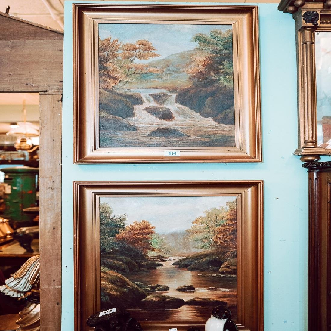Pair of early 20th. C. oil on Canvas River Scenes