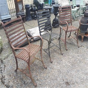 Set Of Three Early 19th C Wrought Iron Garden Chairs