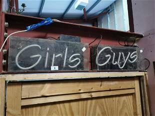 Two vintage neon Girls and Guys sign