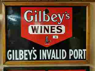 Gilbeys Wine and Port Enamel Advertising Sign