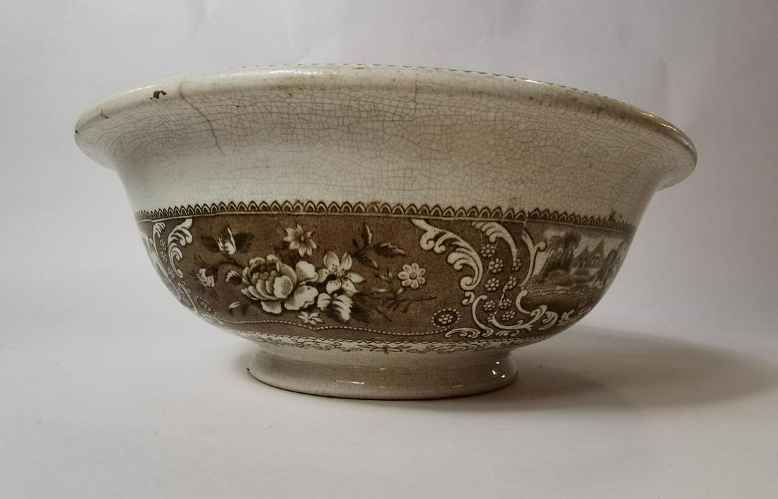 19th. C. brown and white transfer bowl.