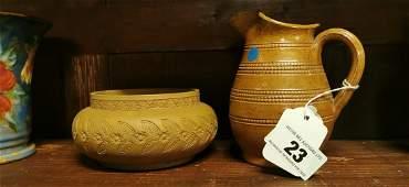 Royal Doulton ceramic jug and stoneware bowl.