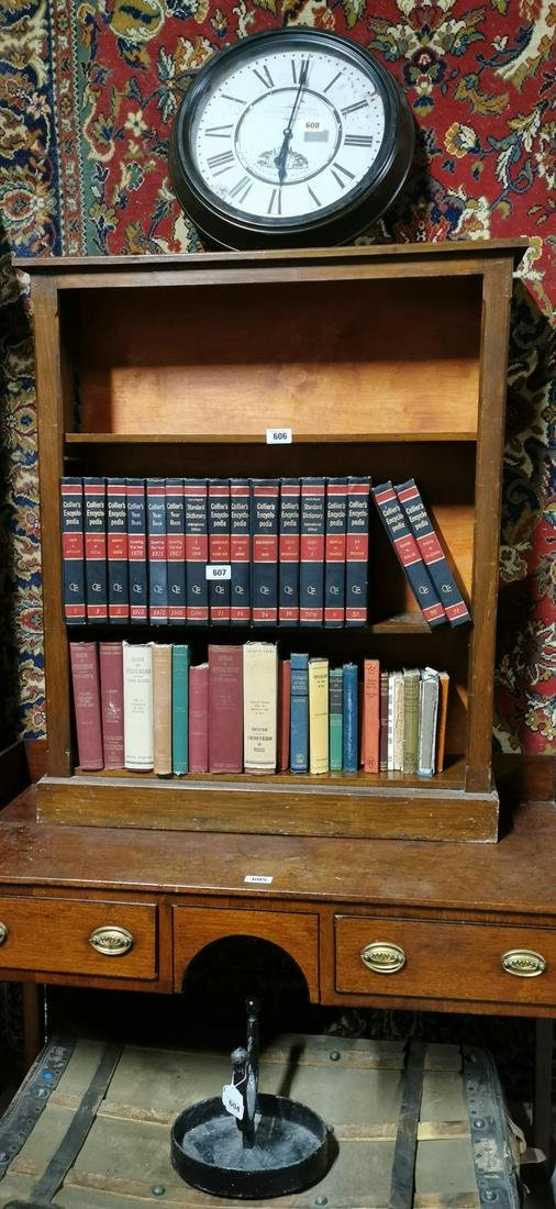 Edwardian mahogany book shelves.