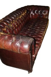 Early 20th C. deep buttoned leather chesterfield sofa.