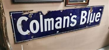 Coleman's Blue enamel advertising sign.