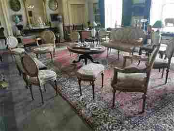 Eleven piece 19th. C  French and giltwood parlour