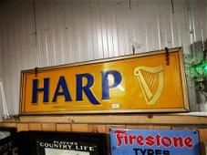 Rare Harp hanging light up advertising sign.