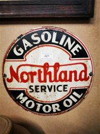 Gasoline Northland Motor Oil enamel advertising sign.