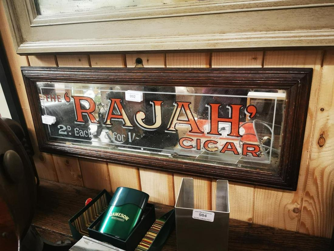 The Rajah Cigar advertising mirror.