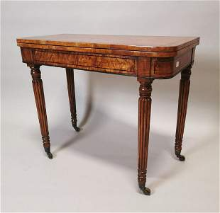 Good quality William IV turn over leaf card table.