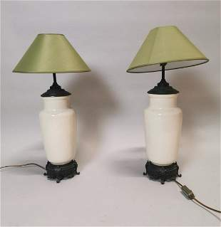 Pair of ceramic and bronze table lamps.