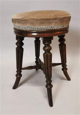 William IV flamed mahogany piano stool.