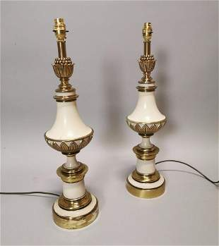 Pair of brass and painted table lamps.