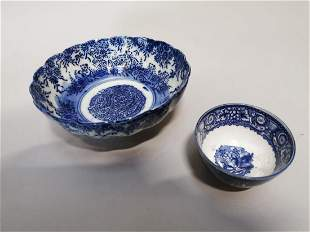 Two 19th C. blue and white Oriental bowls.
