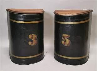 Pair of 19th C. hand painted metal tin bins.