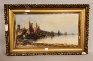 19th C. oil on canvas River Scene by J Cox.