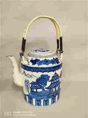 Large blue and white Oriental teapot.
