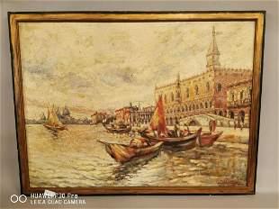 Oil on canvas Venetian Scene.