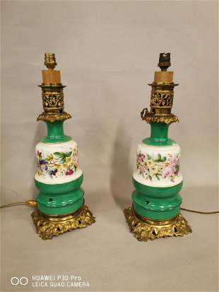 Pair of 19th C. ceramic and brass table lamps.