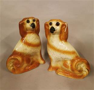 Pair of 19th C. Staffordshire dogs.