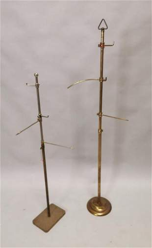 Two early 20th C. brass hat stands.