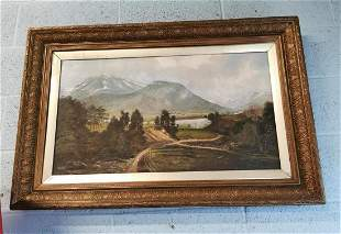 19th. C.  oil on canvas Mountain scene.