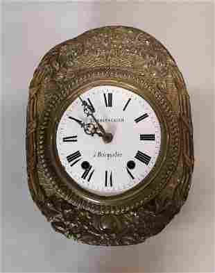 19th C. French brass wall clock.