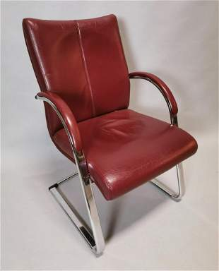 Retro chrome and leather office chair.