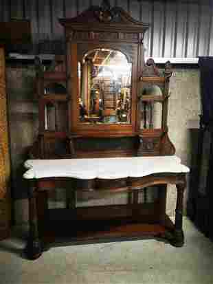 Victorian carved oak hall stand.