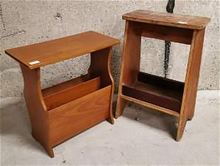 1970s magazine rack and pine stool.